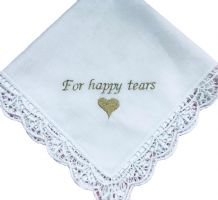 Ladies Personalised Lace Handkerchief.